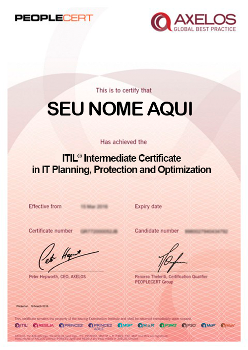 Certificado ITIL® Intermediate Certificate in IT Planning, Protection and Optimization - PPO