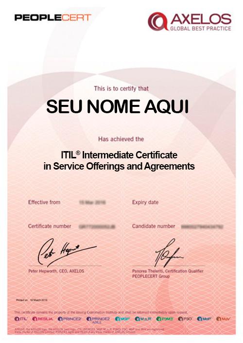 Certificado ITIL® Intermediate Certificate in IT in Service Offerings and Agreements - SOA