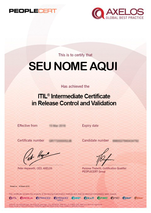 Certificado ITIL® Intermediate Certificate in Release Control and Validation - RCV