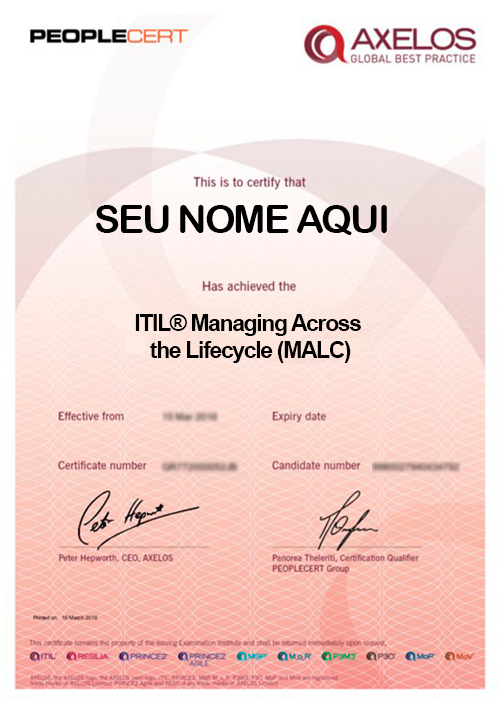 Certificado ITIL® Managing Across the Lifecycle (MALC)