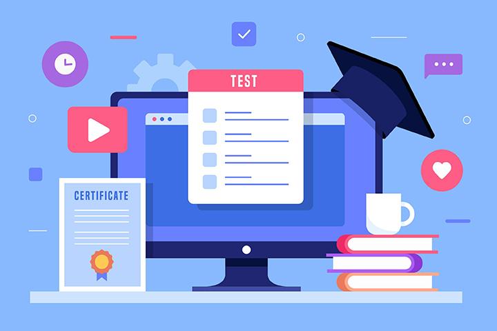 Computador com chapéu universitário certificado livros e um teste
