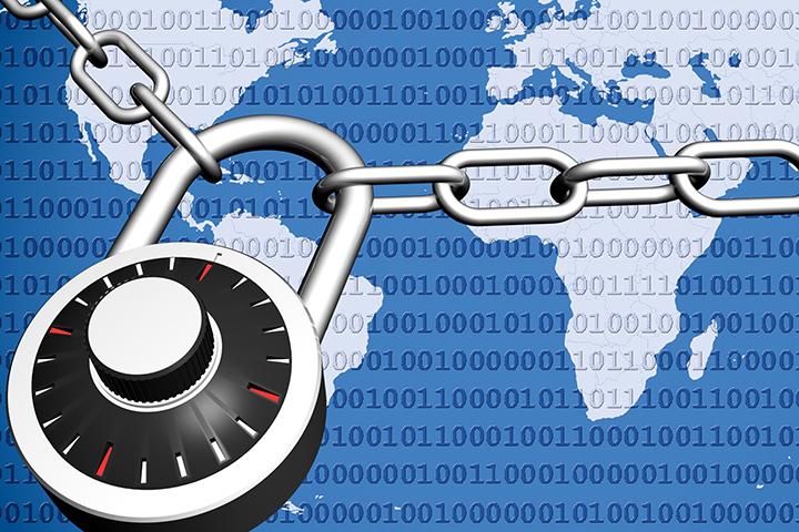 Cadeado trancando o mapa mundi protegendo dados com PDPP